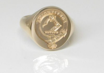 Hallmarked and seal engraved with family crest and motto