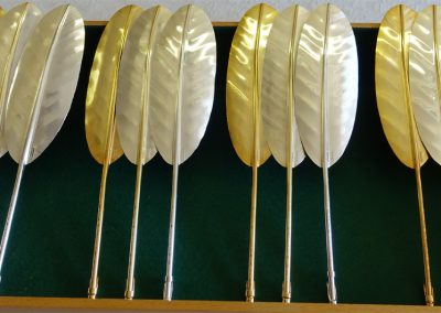 Bespoke silver and silver gilt quill feathers presented to best in class
