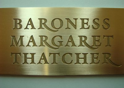 Brass plaque for presentation to Right Honourable Margaret Thatcher, Prime Minister