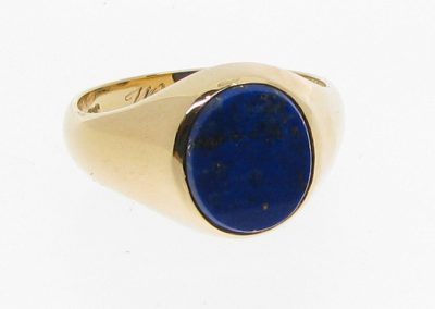 Gold ring set with heirloom lapis stone and hallmarked