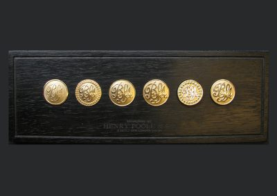 Gold button sampler prepared for Prince B. of Saudi Arabia, 18 carat blazer buttons were commissioned