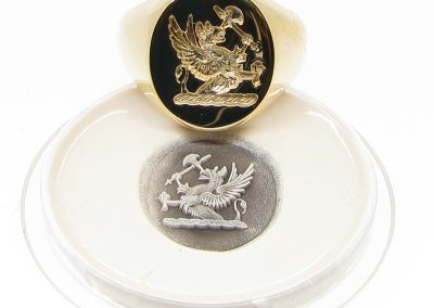 Gold signet ring seal engraved togther with wax impression