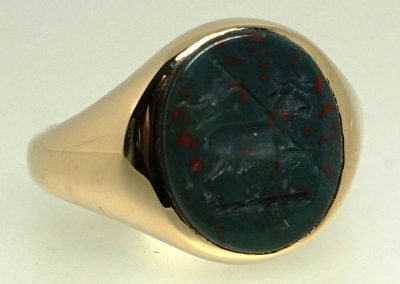 Gold signet ring set with bloodstone and seal engraved