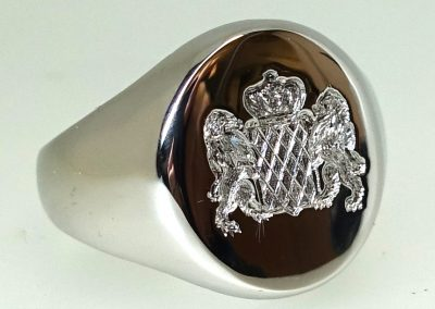 Platinum signet ring 20mmx16mm bearing coat of arms