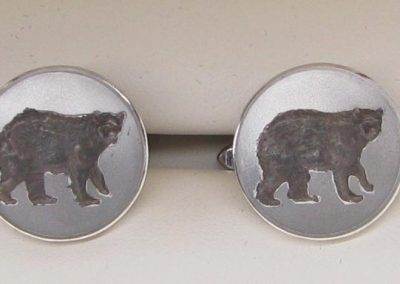 Sterling silver cuff links with 3D engraved bear design