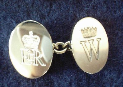 Sterling silver cuff links engraved for royalty