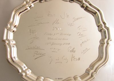 Sterling silver salver with facsimiles of hand written signatures