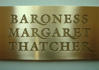 Brass plaque engraved for presentation to Baroness Margaret Thatcher