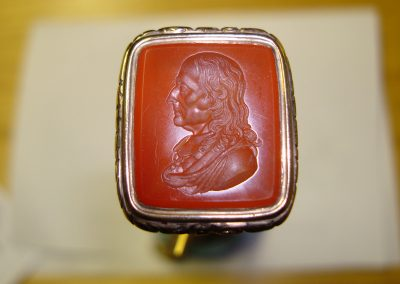 Gold signet ring set with carnelian stone, hallmarked and seal engraved