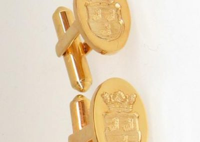 Gold swivel backed cuff links engraved with coronet and shield