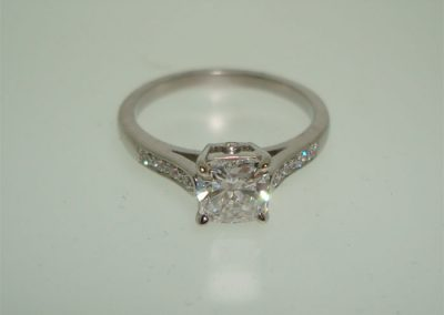 Diamond engagement ring set in platinum
