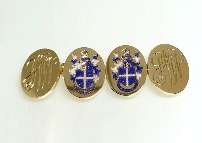 Engraved and enamelled gold cuff links