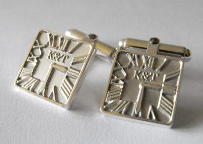 Sterling silver cuff links with 3D wedding invitation design