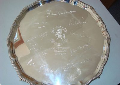 Sterling silver salver hand engraved with inscription and Board of Directors' signatures