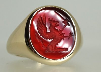 Carnelian stone set signet seal engraved with crest