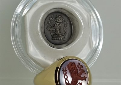 Mozambique garnet set signet ring seal engraved with wax impression