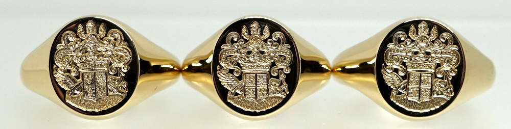 Gold signet rings seal engraved with Coat of Arms for three brothers