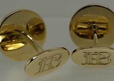 Gold Cuff Links with Hallmark & Monogram