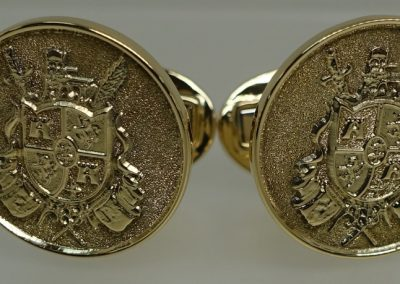 Gold Cuff Links engraved with Coat of Arms